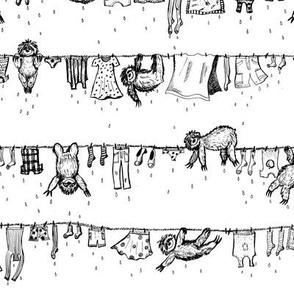 Big sloths washing