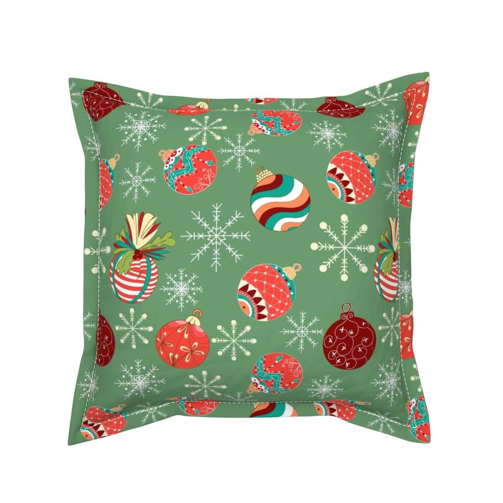 Serama Throw Pillow featuring Vintage hand drawn christmas balls  by nina_savinova