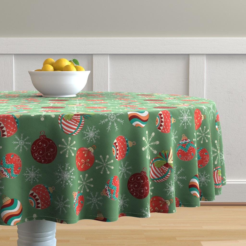 Malay Round Tablecloth featuring Vintage hand drawn christmas balls  by nina_savinova
