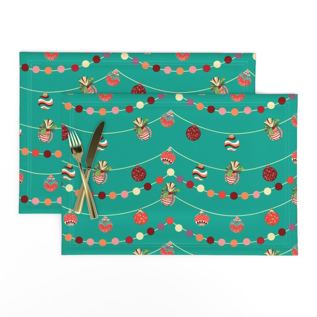 Lamona Cloth Placemats featuring Vintage Christmas balls by nina_savinova