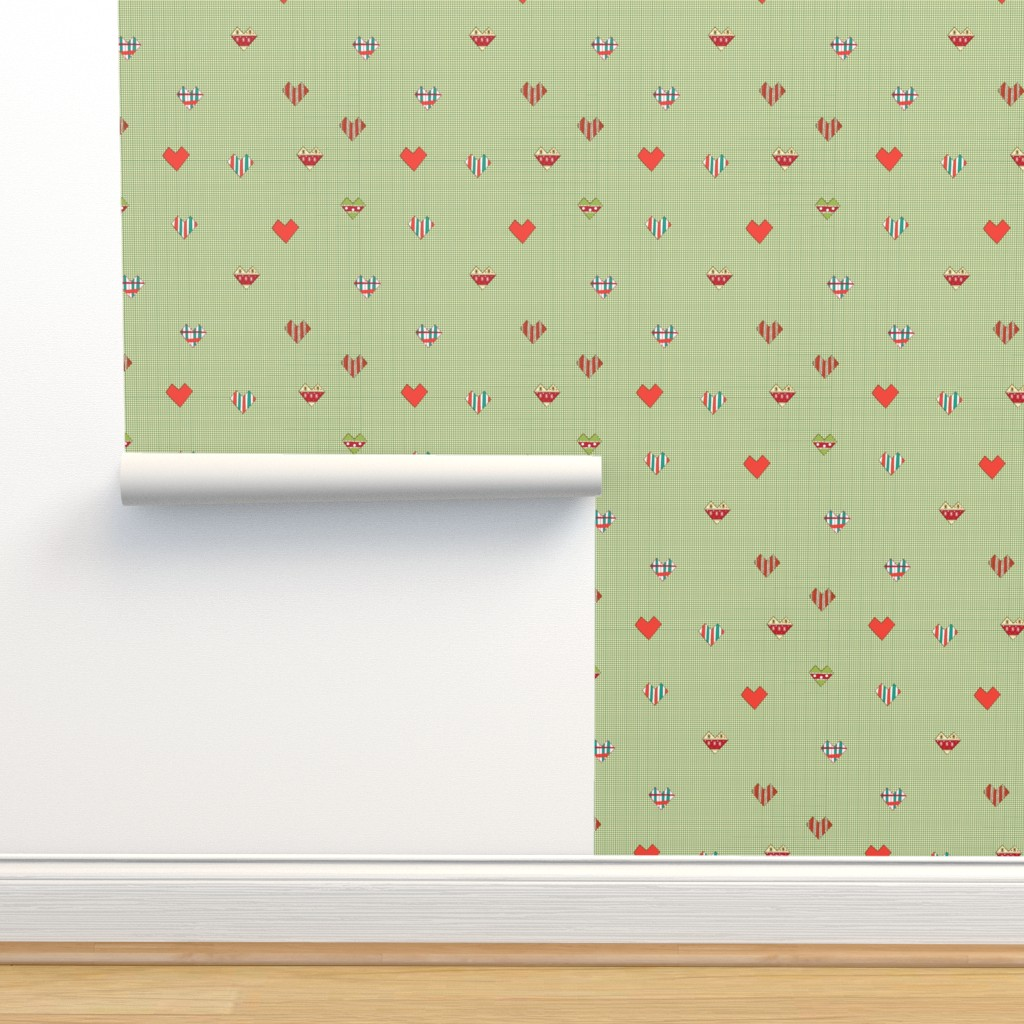 Isobar Durable Wallpaper featuring Vintage Hearts by nina_savinova