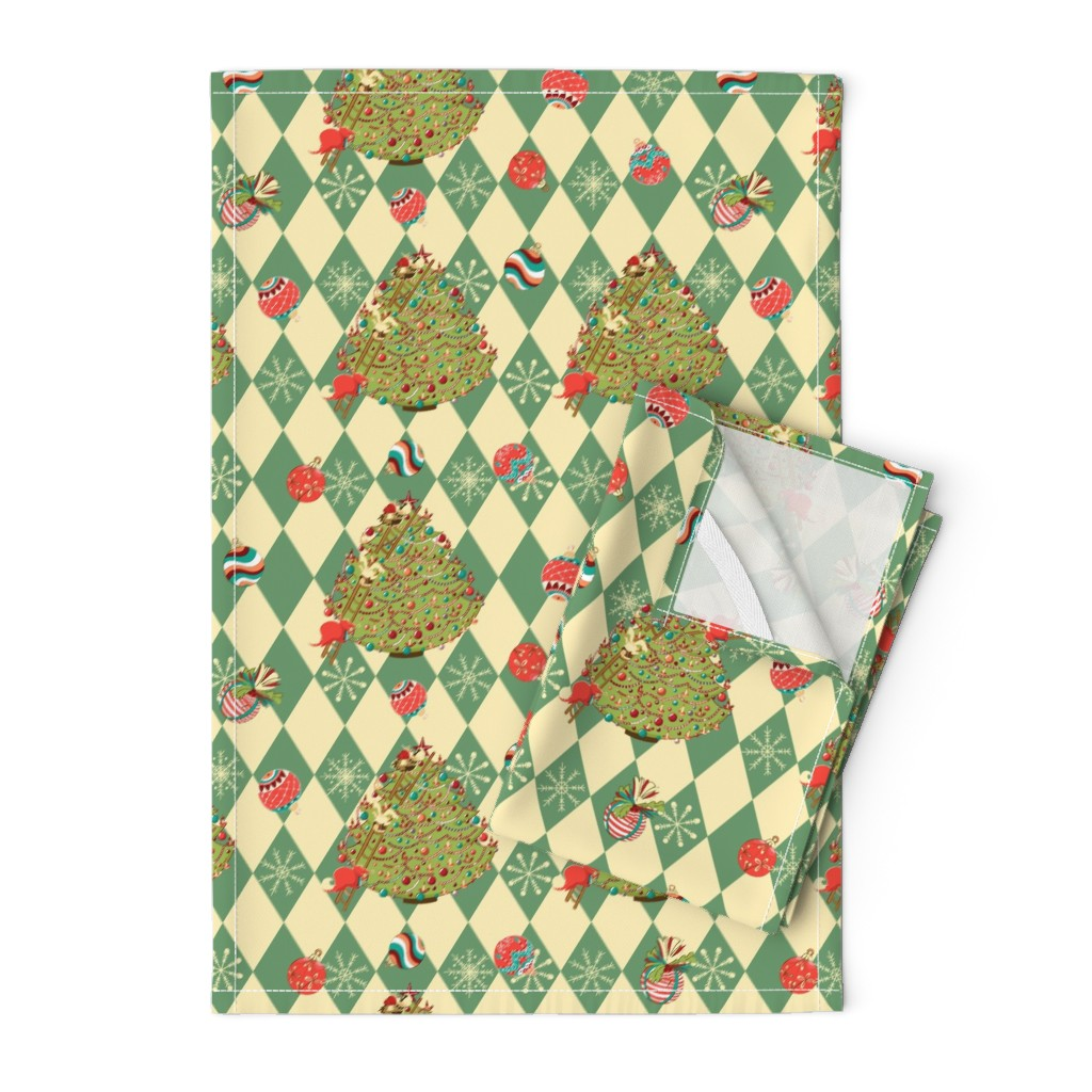 Orpington Tea Towels featuring Christmas tree story by nina_savinova