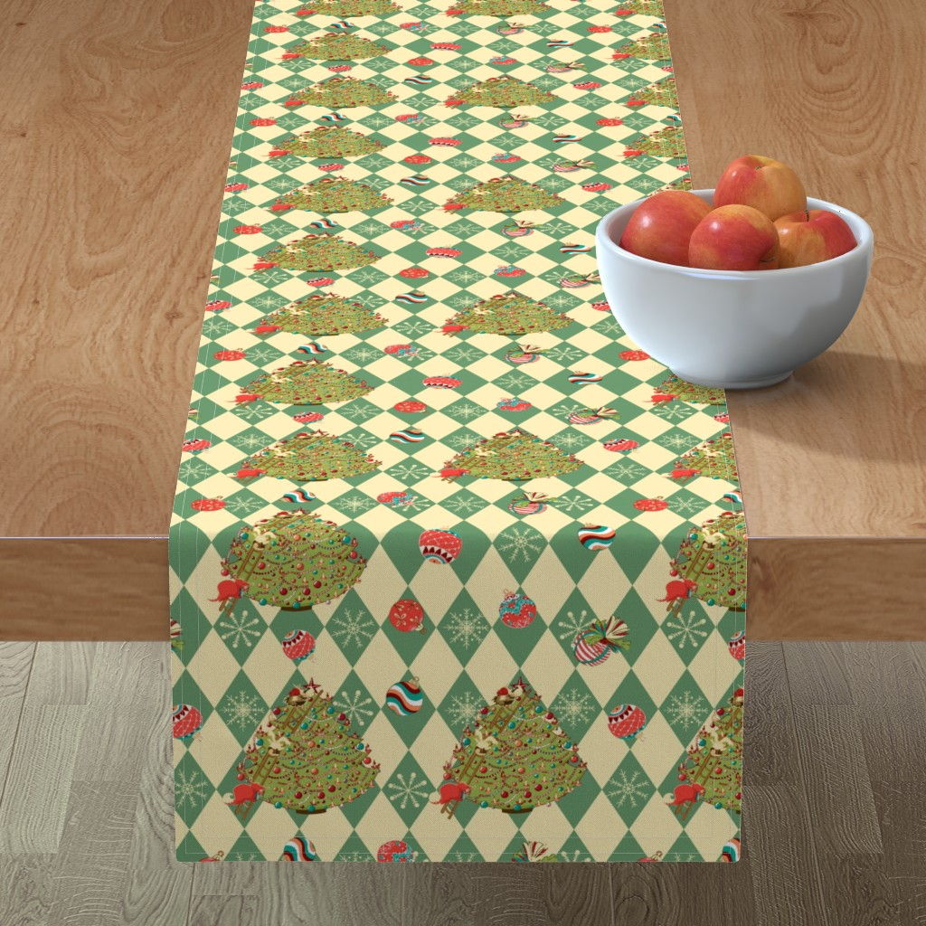 Minorca Table Runner featuring Christmas tree story by nina_savinova