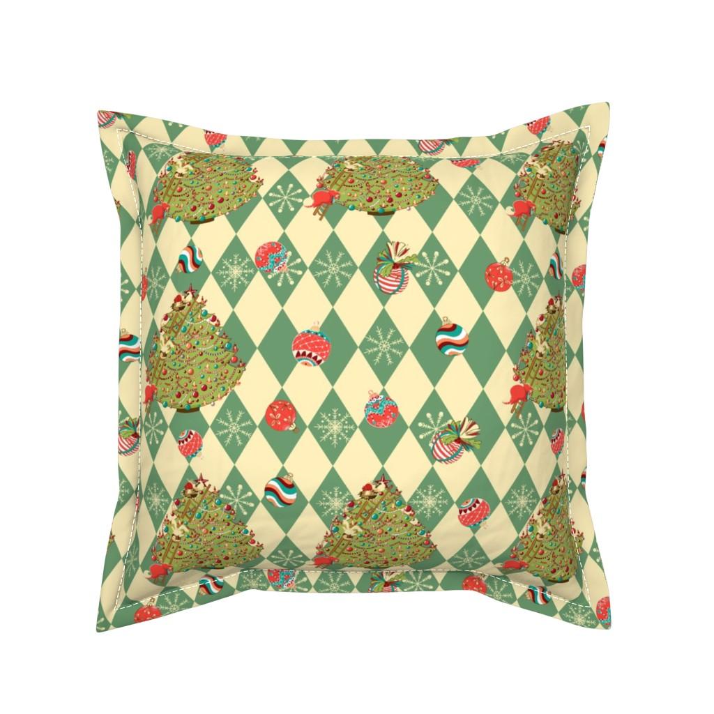 Serama Throw Pillow featuring Christmas tree story by nina_savinova