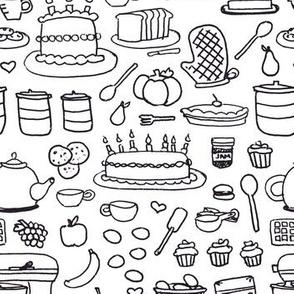 Sketchy Kitchen - Black and White