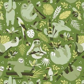 Easy living jungle sloths | green
