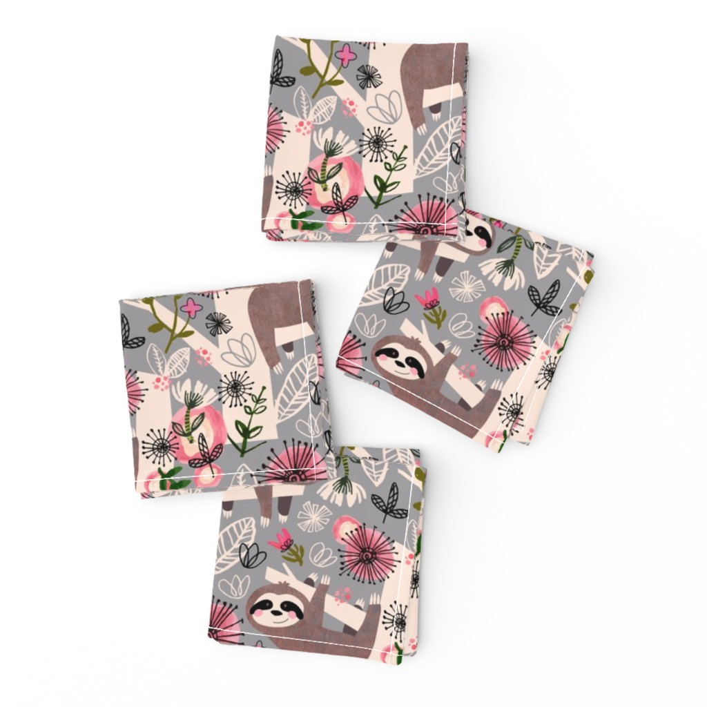 Frizzle Cocktail Napkins featuring Lovable Sloths - Large by sarah_treu