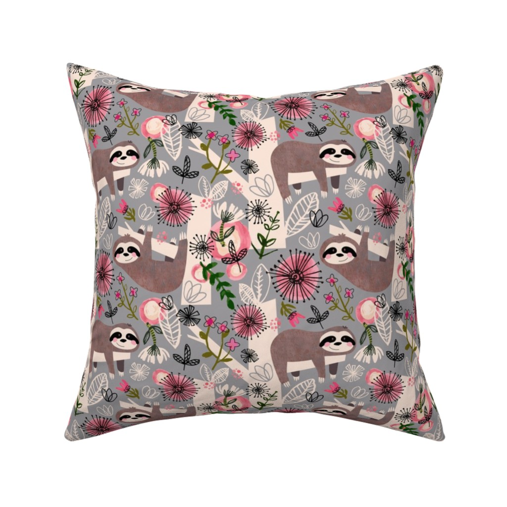 Catalan Throw Pillow featuring Lovable Sloths - Large by sarah_treu