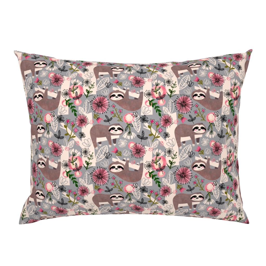 Campine Pillow Sham featuring Lovable Sloths - Large by sarah_treu