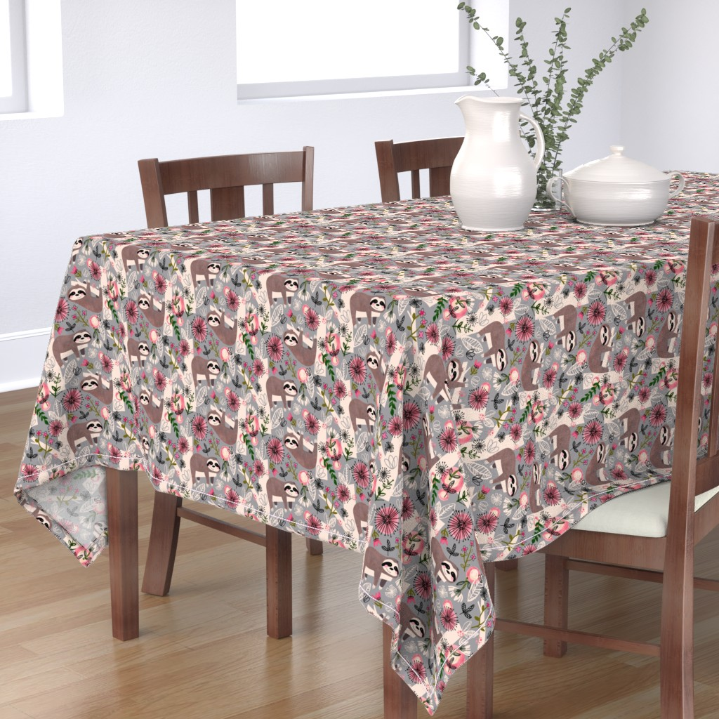 Bantam Rectangular Tablecloth featuring Lovable Sloths - Large by sarah_treu