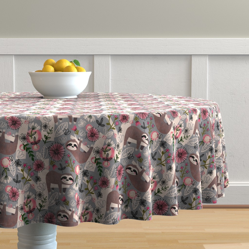 Malay Round Tablecloth featuring Lovable Sloths - Large by sarah_treu