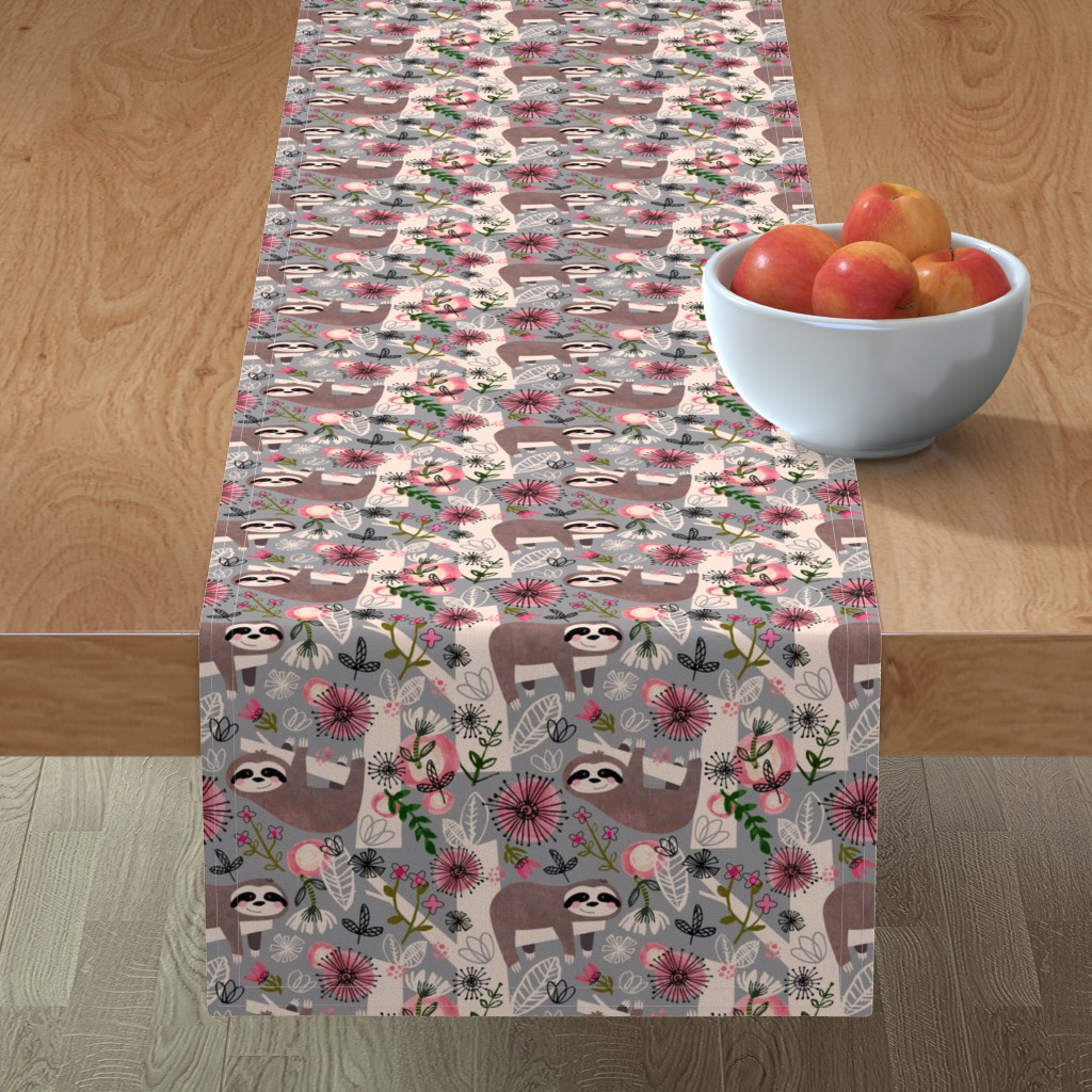 Minorca Table Runner featuring Lovable Sloths - Large by sarah_treu