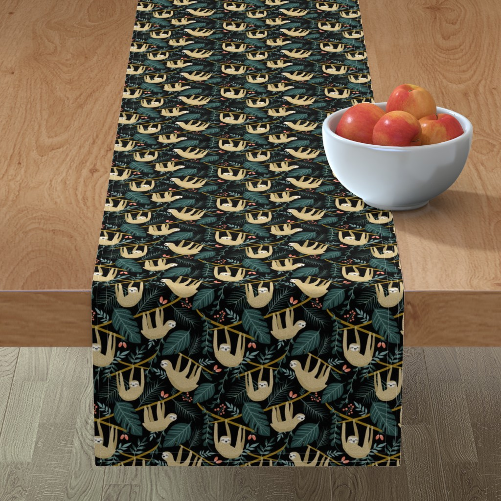 Minorca Table Runner featuring Sloth in the jungle by morsky