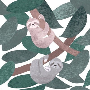 Sloths - cute, happy sloths hanging out in the leaves - smaller scale