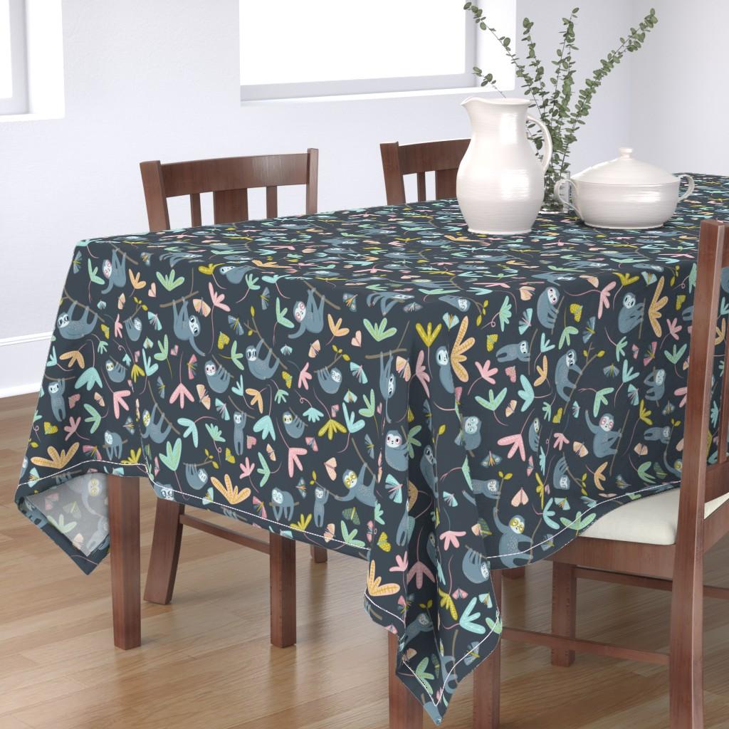 Bantam Rectangular Tablecloth featuring Sloths and Moths Large Dark Ground  by rosalindmaroneyillustration