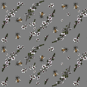 Manuka with bees on grey