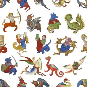 Medieval Creatures on White