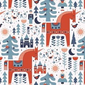 Scandinavian Fairy Tale Blue + Red