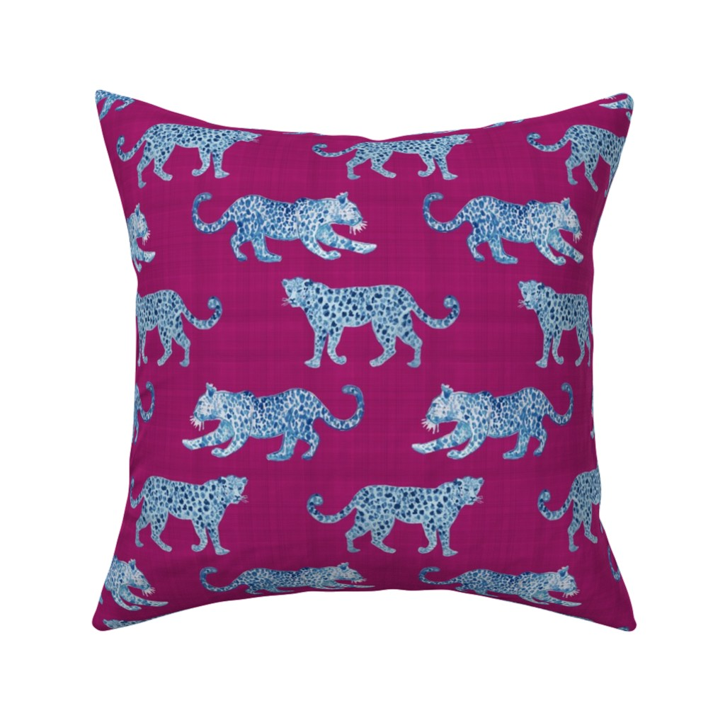 Catalan Throw Pillow featuring Leopard Parade Blue on Magenta by danika_herrick
