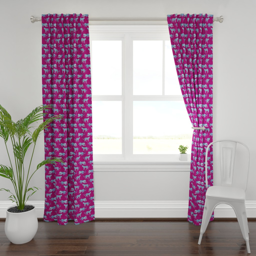 Plymouth Curtain Panel featuring Leopard Parade Blue on Magenta by danika_herrick