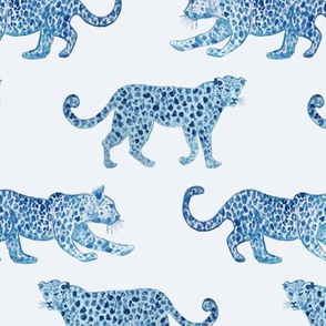 Leopard Parade Blue on white