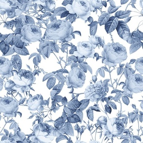"18""  Pierre-Joseph Redouté Roses,Chinoiserie Blue Rose"