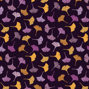 Ginkgo Leaves in Orange and Purple