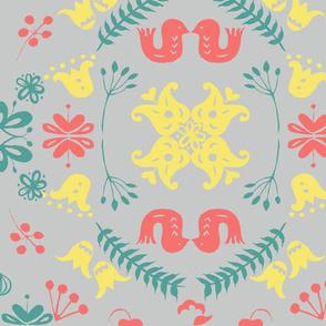 Love birds scandi tile multi on grey
