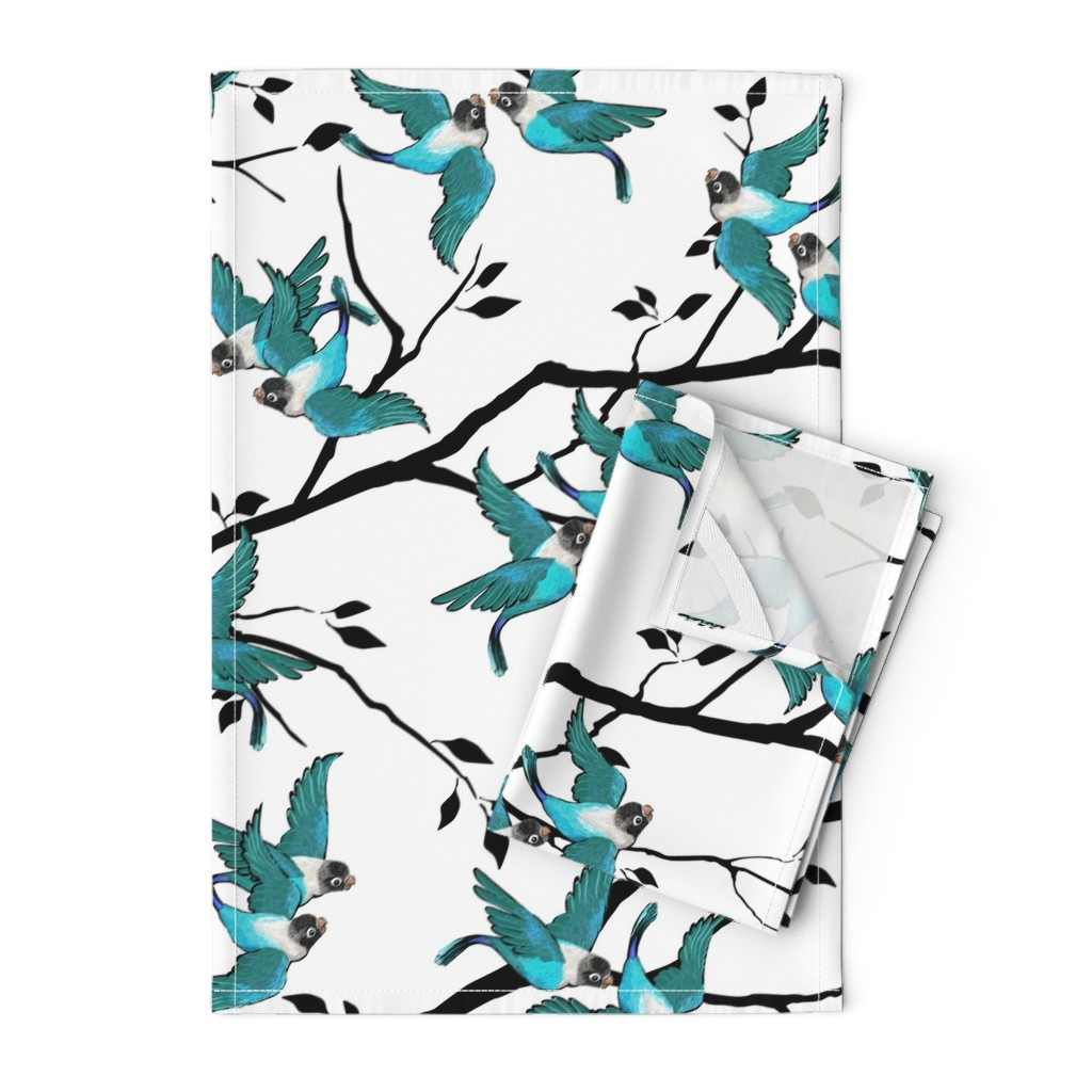 Orpington Tea Towels featuring Lovebirds - Love in the Air | Teal-White-Black by southwind