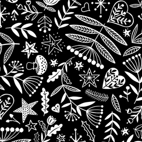Folky Wintery Nature. White on Black. (Large Scale)