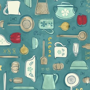 Vintage Kitchen Utensils / Teal