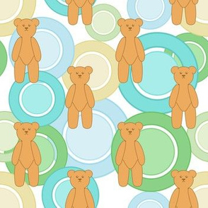 Circles Of Teddy Bears (Green On White)