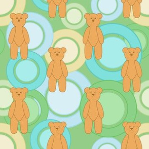 Circles Of Teddy Bears (Green On Green)