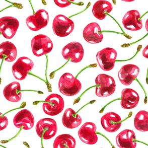 Watercolor cherries pattern