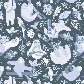 Easy living jungle sloths | blue