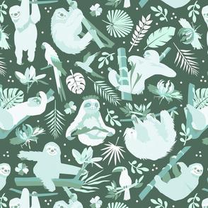 Easy living jungle sloths | teal