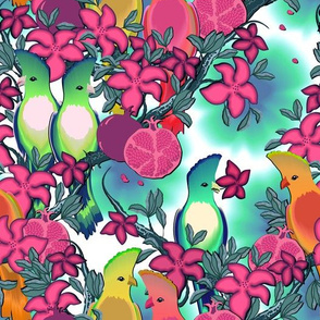 Cute birds in flowering branches on a turquoise background