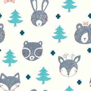 woodland friends // deer // raccoon // fox // bear // rabbit