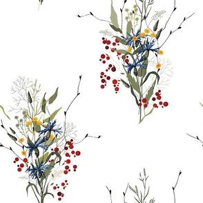 Blooming flowers and berries
