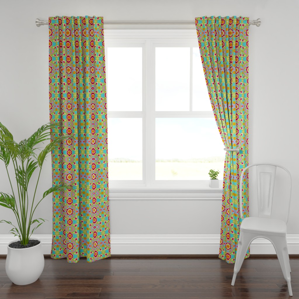 Plymouth Curtain Panel featuring wow flip retro by snork