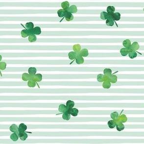 shamrocks - st patricks day - good luck mint stripes