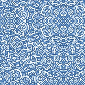 """1807 Blue Doodle Medallion  (med 12"""") 1807"""