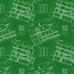 Green Blueprints   Retro Festive