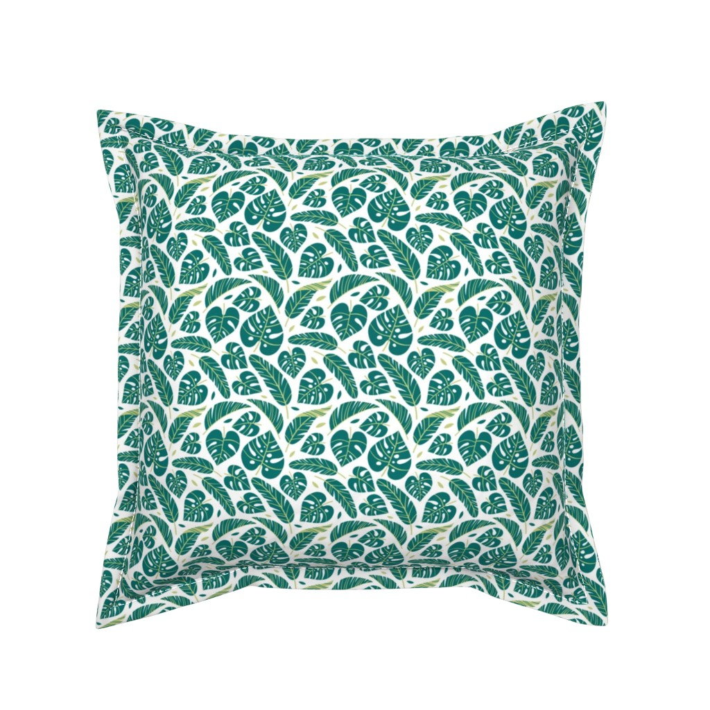 Serama Throw Pillow featuring tropical leaves - white by mirabelleprint