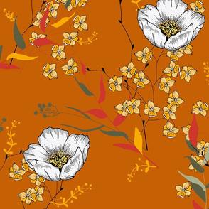 Orange botanical flowers