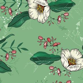 Green flower backdrop