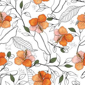 Exotic flora, orange flowers