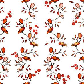 Red vintage botanical