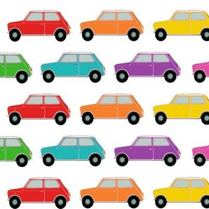 Classic car, English mini car, rainbow cars