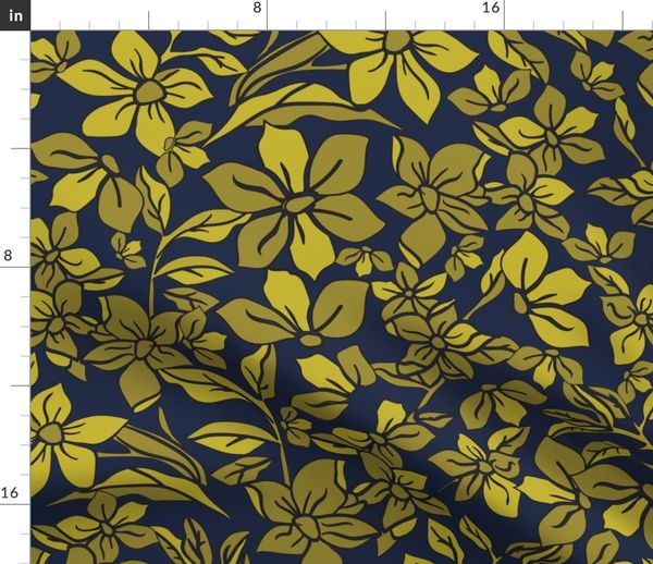 FLOWING_FLOWERS_GOLDEN_NAVY_SEAMLESS_STO - Spoonflower